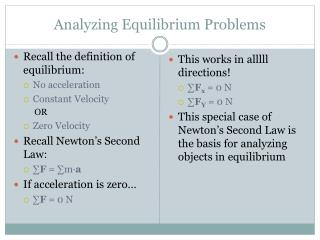 Analyzing Equilibrium Problems
