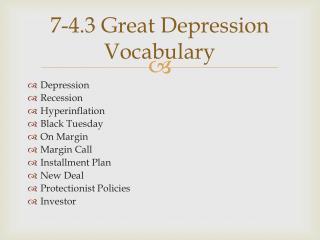 7-4.3 Great Depression Vocabulary