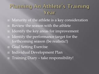 Planning An Athlete's Training Year