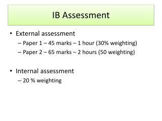 IB Assessment