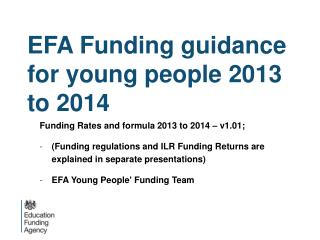 EFA Funding guidance for young people 2013 to 2014