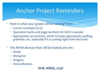 Anchor Project Reminders