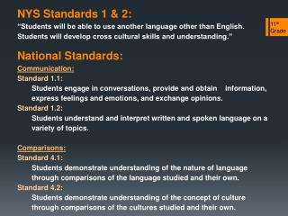 NYS Standards 1 & 2: