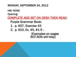 MONday , September 24, 2012