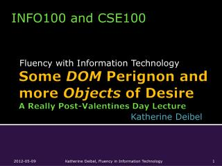 Some  DOM Perignon  and more  Objects  of Desire A  Really Post-Valentines  Day  Lecture
