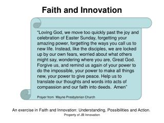 Faith and Innovation