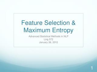 Feature Selection &  Maximum Entropy