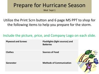 Prepare for Hurricane Season Wed  Sept 1