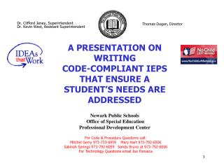 Newark Public Schools  Office of Special Education  Professional Development Center