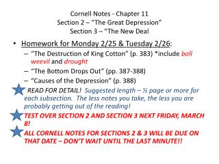 "Cornell Notes - Chapter 11  Section 2 – ""The Great Depression""  Section 3 – ""The New Deal"