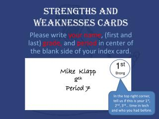 Strengths and Weaknesses Cards