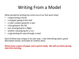 Writing From a Model