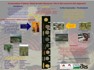 Conservation of Navajo Maize Genetic Resources: The In-Situ versus Ex-Situ Approach