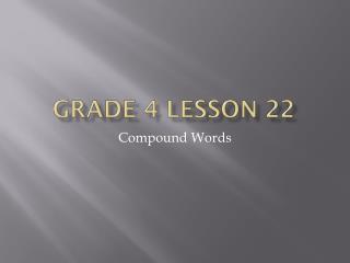Grade 4 lesson 22