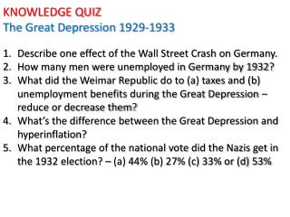 KNOWLEDGE QUIZ The Great Depression 1929-1933