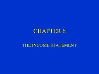 THE INCOME STATEMENT