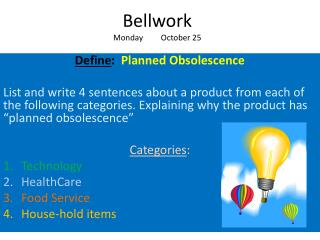 Bellwork Monday         October 25