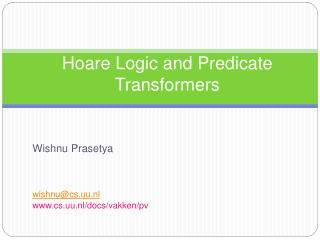 Hoare Logic and Predicate Transformers