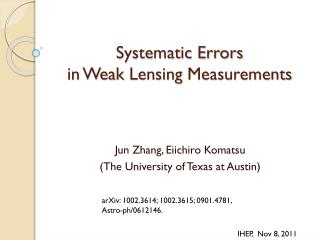 Systematic Errors  in Weak  Lensing  Measurements