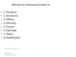 Definition for Wednesday October 15