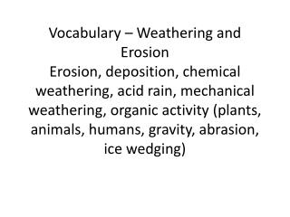 vocabulary weathering and erosion 2