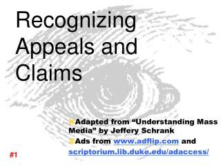 Recognizing Appeals and Claims