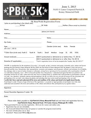 5K Run/Walk Registration Form