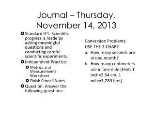Journal  –  Thur sday ,  November  14,  2013