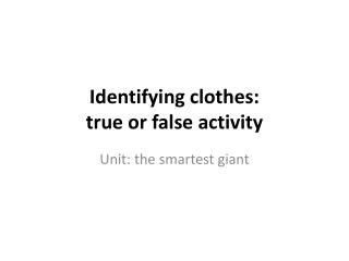 Identifying clothes:  true or false activity