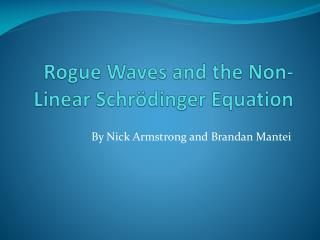 Rogue Waves and the Non-Linear  S chr�dinger Equation