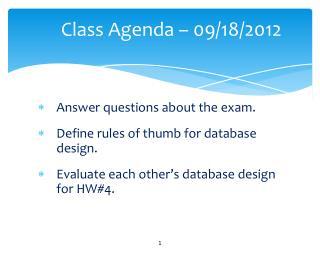 Class Agenda –  09/18/2012