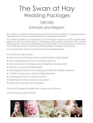 The Swan at Hay  Wedding Packages