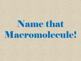 Name that  Macromolecule!