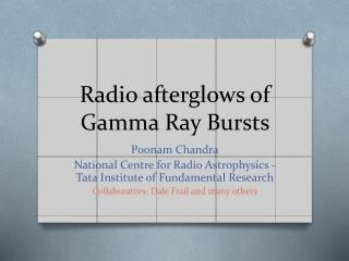 Radio afterglows of Gamma Ray Bursts
