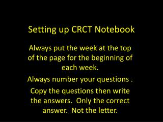 Setting up CRCT Notebook