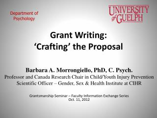 Grant Writing: 'Crafting' the Proposal