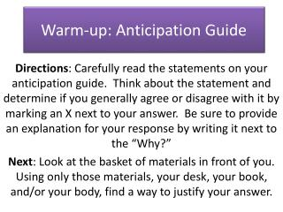 Warm-up: Anticipation Guide