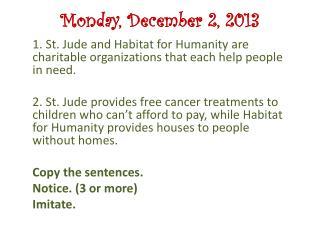 Monday, December  2,  2013