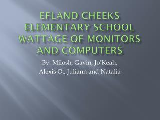 Efland Cheeks Elementary School Wattage of  MONITORS AND COMPUTERS