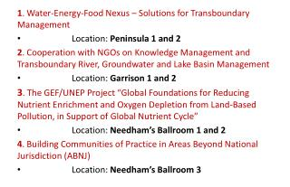 1 . Water-Energy-Food Nexus – Solutions for Transboundary Management