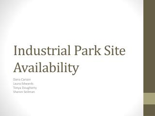 Industrial Park Site Availability