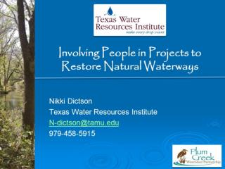 Involving People in Projects to  Restore Natural Waterways