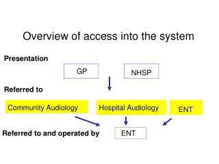 Overview of access into the system