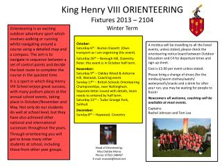 King Henry VIII ORIENTEERING Fixtures 2013 – 2104 Winter Term