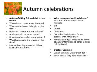Autumn celebrations