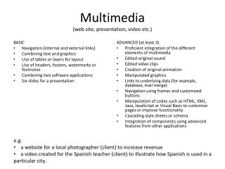 Multimedia (web site, presentation, video etc.)