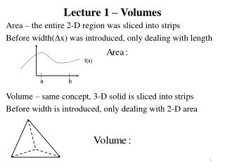 Lecture 1 – Volumes