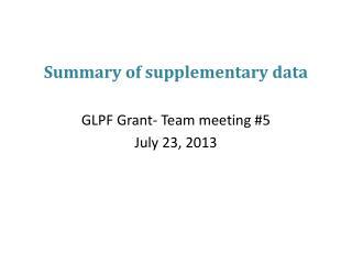 Summary of supplementary data