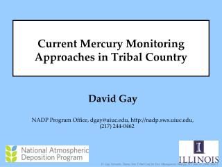 Current Mercury Monitoring Approaches in Tribal Country