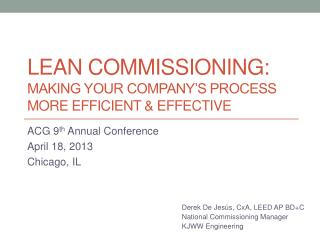 Lean Commissioning: Making Your Company's Process More Efficient & Effective